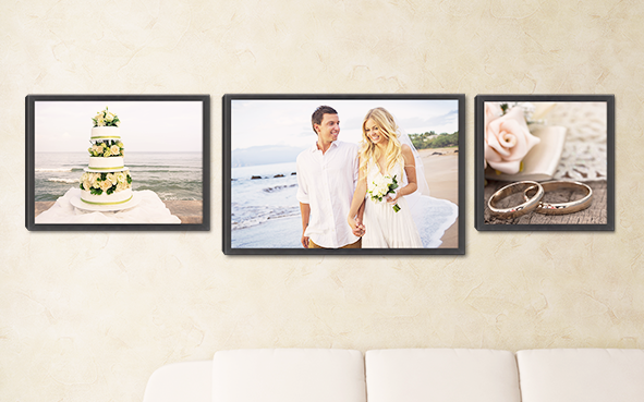 Cherish the memories of your special day by having your favorite wedding photo turned into a framed canvas print available in sizes from 12x16 to 40x60