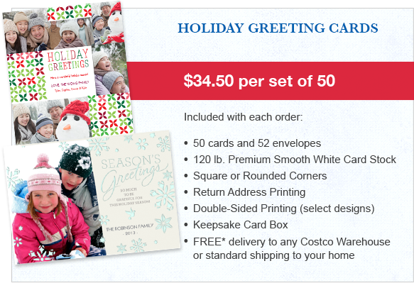 its still 69 per card you can even add your return address to the envelopes at no extra cost - Costco Holiday Cards